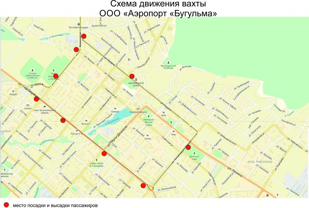 """Схема движения автобуса ООО """"Аэропорт """"Бугульма"""""""